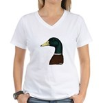 Mallard Drake Head Women's V-Neck T-Shirt