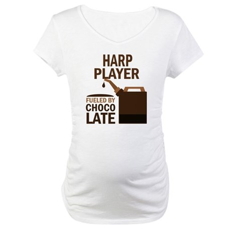 Harp Player Powered By Donuts Maternity T-Shirt