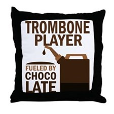 Trombone Player Powered By Donuts Throw Pillow