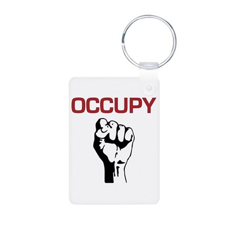 Occupy with Fist Aluminum Photo Keychain