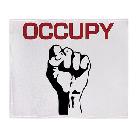 Occupy with Fist Throw Blanket