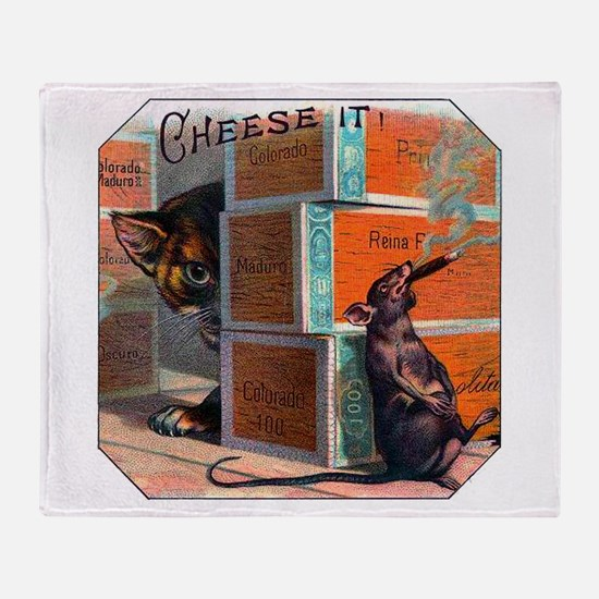 Cheese It Rat Cigar Label Throw Blanket