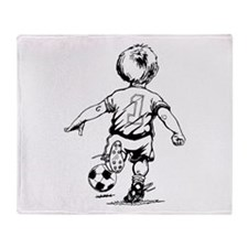 Child Playing Soccer Throw Blanket