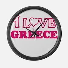 I love Greece Large Wall Clock