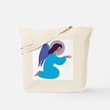 Angel in blue robe, kneeling - Tote Bag