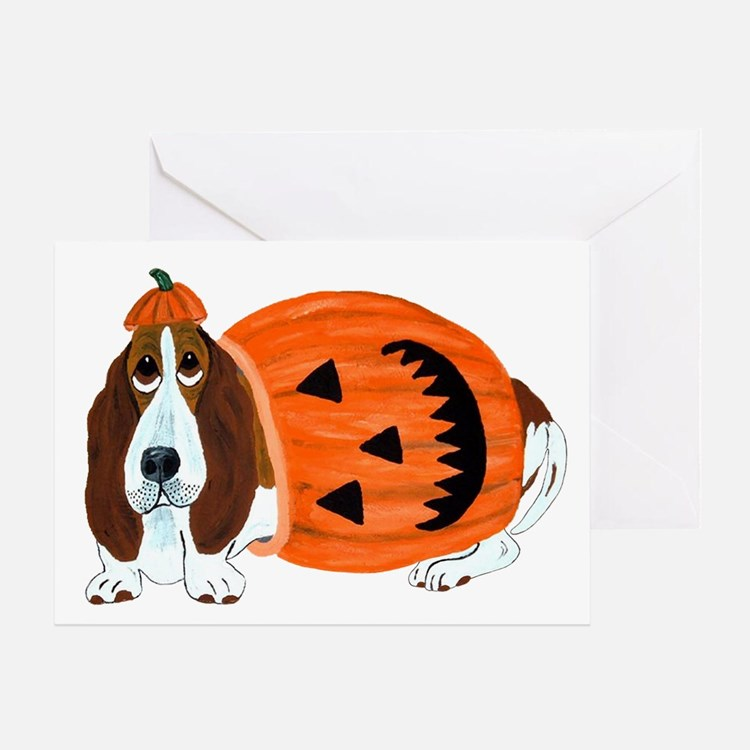 Basset Hound In Pumpkin Suit Card Greeting Cards