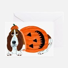 Basset Hound In Pumpkin Suit Greeting Cards (pk Of