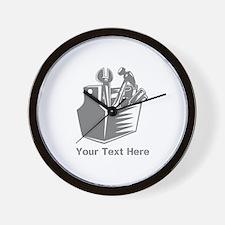 Tool box. Custom Text. Wall Clock