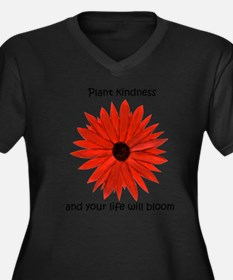 Cute Flower life Women's Plus Size V-Neck Dark T-Shirt