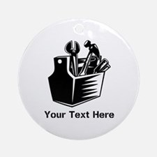 Tools with Text in Black. Ornament (Round)