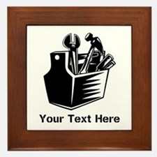 Tools with Text in Black. Framed Tile