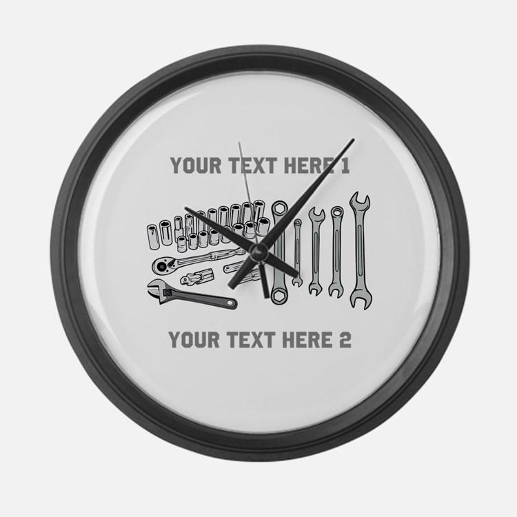 Wrenches with Text. Large Wall Clock