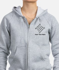 Wrenches. Black Text. Zip Hoodie