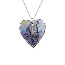 rhino, wildlife, art, Necklace Heart Charm