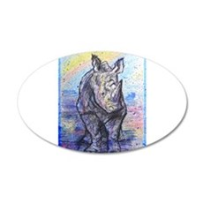 rhino, wildlife, art, 22x14 Oval Wall Peel