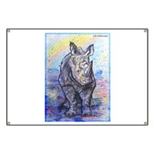 rhino, wildlife, art, Banner