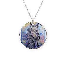 rhino, wildlife, art, Necklace Circle Charm
