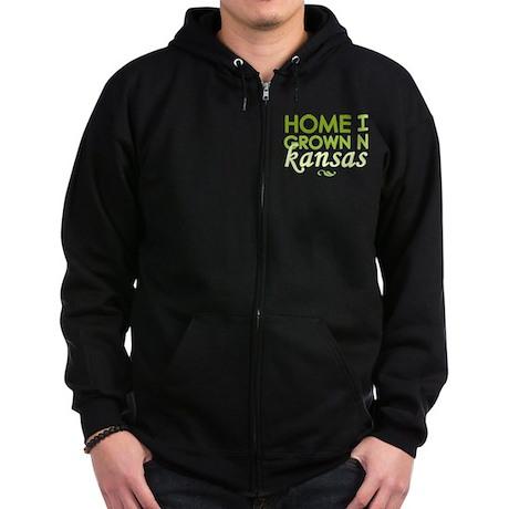 'Home Grown In Kansas' Zip Hoodie (dark)