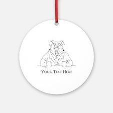 Pig in Suit. Custom Text Ornament (Round)