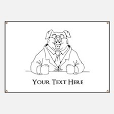 Pig in Suit. Custom Text Banner