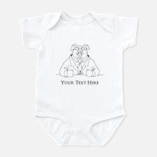 Pig in Suit. Custom Text Infant Bodysuit
