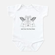 Flying Pig in Suit. Custom Text Infant Bodysuit