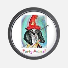 Party animal, fun, dog, art, Wall Clock