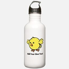 Cute Chick. Black Text Water Bottle