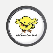 Cute Chick. Black Text Wall Clock