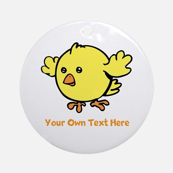 Cute Bird. Orange Text Ornament (Round)
