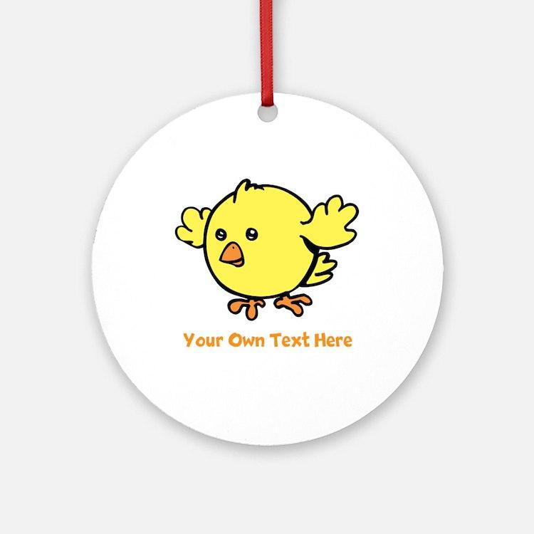 Cute Bird. Orange Text Ornament (Round)
