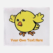 Cute Bird. Orange Text Throw Blanket