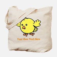 Cute Bird. Orange Text Tote Bag