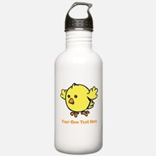 Cute Bird. Orange Text Water Bottle