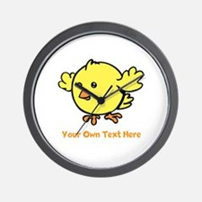 Cute Bird. Orange Text Wall Clock