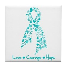 PCOS Awareness Butterfly Tile Coaster