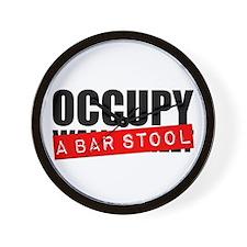 Occupy A Bar Stool Wall Clock