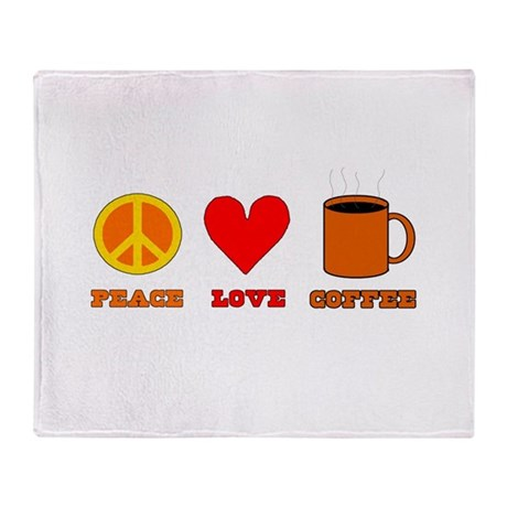 Peace Love Coffee Throw Blanket