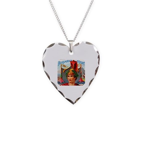 Alexander the Great Cigar Label Necklace Heart Cha