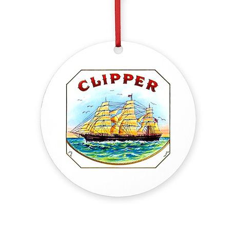 Clipper Ship Cigar Label Ornament (Round)