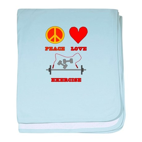 Peace Love Exercise baby blanket