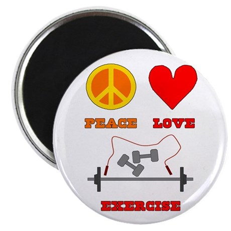 """Peace Love Exercise 2.25"""" Magnet (100 pack)"""