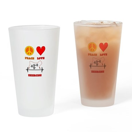 Peace Love Exercise Drinking Glass