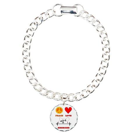 Peace Love Exercise Charm Bracelet, One Charm