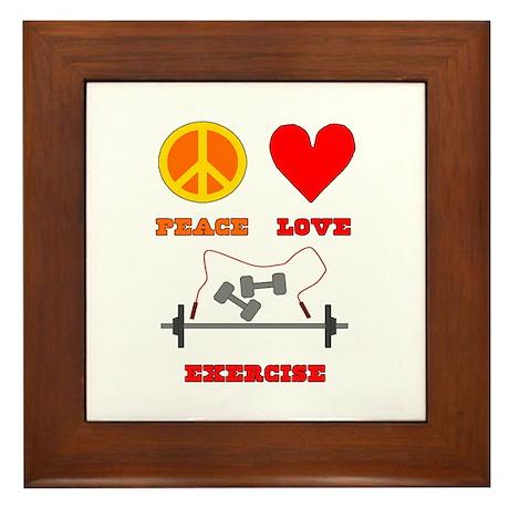 Peace Love Exercise Framed Tile