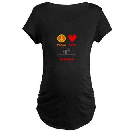 Peace Love Exercise Maternity Dark T-Shirt