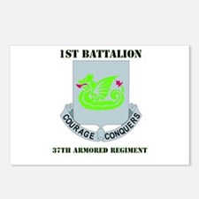 DUI - 1st Bn - 37th Armor Regt with Text Postcards