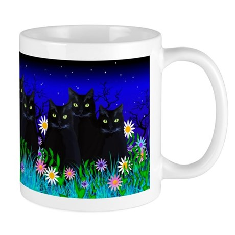 Three Black Cats among the Flowers Mugs