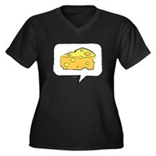 "WTD: Say ""CHEESE"" Women's Plus Size V-Neck Dark T-"