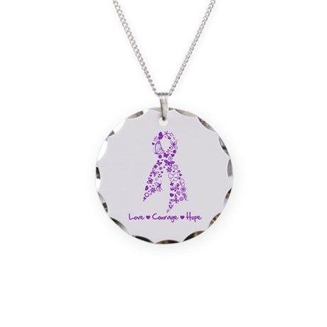 Lupus Awareness Butterfly Necklace Circle Charm